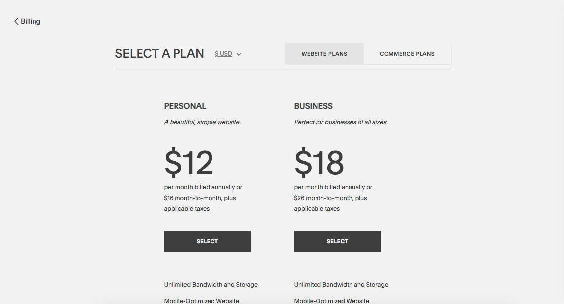 squarespace fee