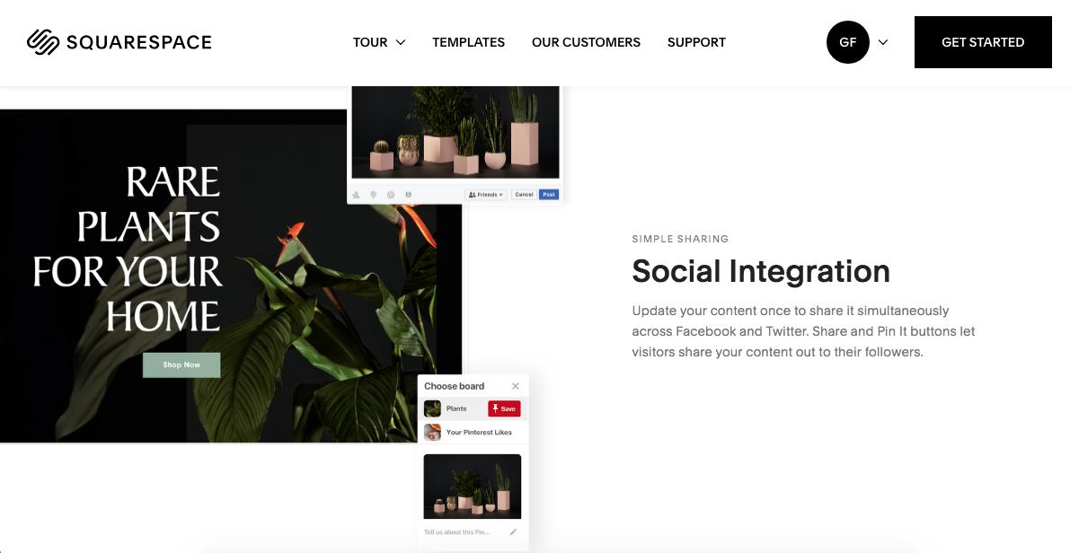 squarespace social integration